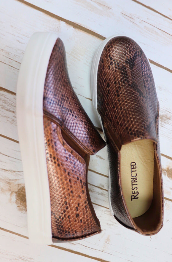 Brown Snake Skin Slip-on Sneakers