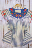 Springtime Embroidered Striped Top