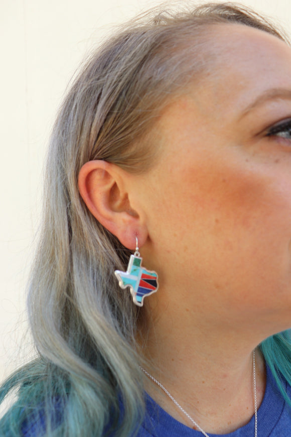 Last Call Texas Map Earrings [Turquoise]
