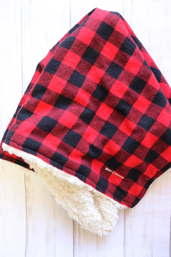 Buffalo Plaid Flannel Sherpa Blanket