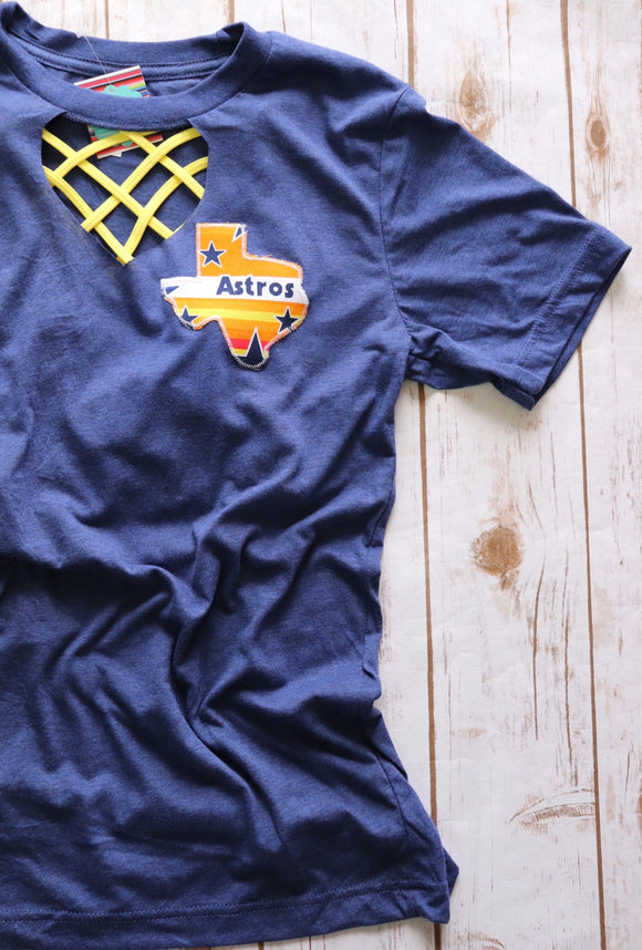 Throwback Astros Key Hole Tee [Small Logo]