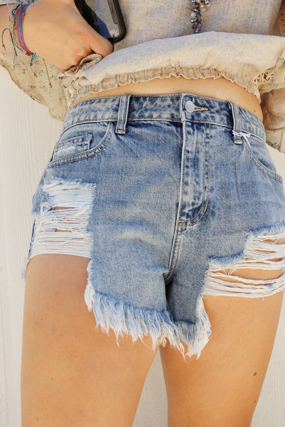 Last Call Dallas Distressed Denim Shorts