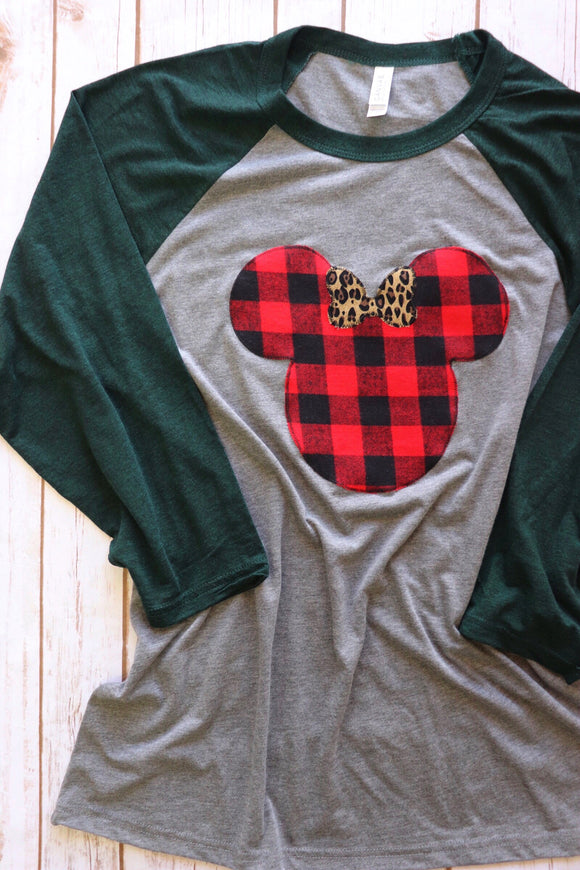 Buffalo Plaid Mouse Raglan Tee [Hunter/Grey]