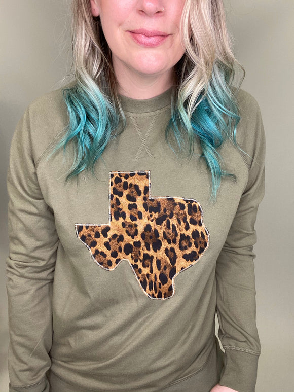 Big Cat Leopard Olive Pullover