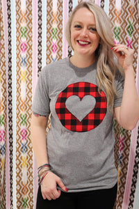 Buffalo Plaid Crew Neck Tee