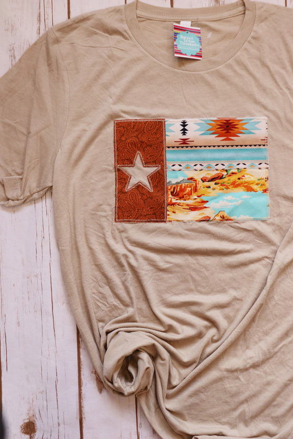 Sedona Tooled Leather Texas Flag Tee