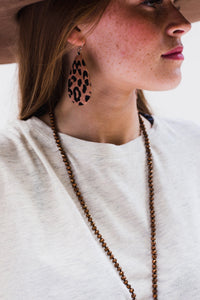 Leopard Tear Drop Earrings [Tan]