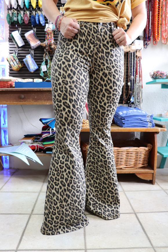 Leopard Print Super Flare Jeans