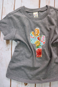 Tiffany Floral Print Kid's Grey Tee