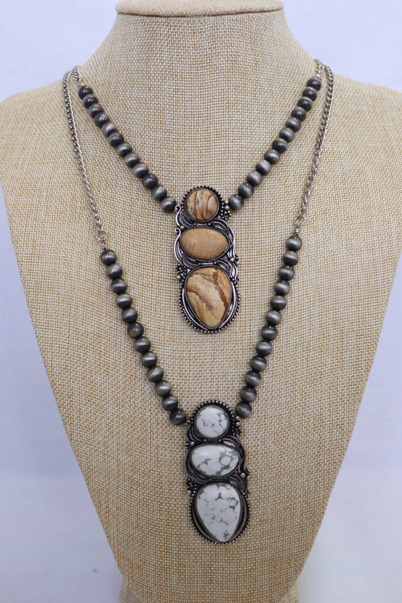 Navajo Stone Necklace & Earring Set [2 Colors]