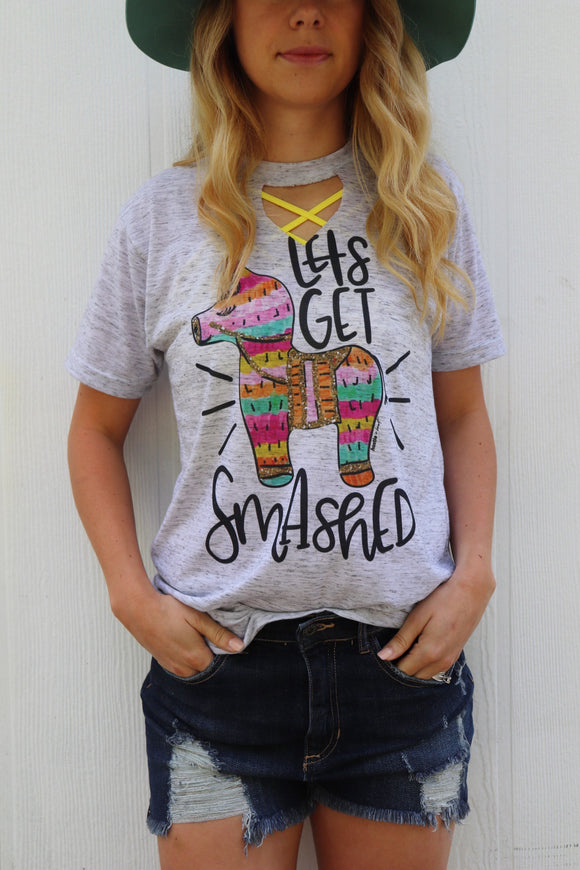 Let's Get Smashed Key Hole Tee
