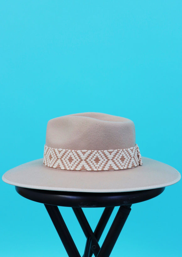 Jacquard Diamond Band Wool Hat [Wild West]