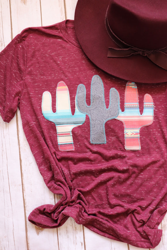 Cactus Trifecta Tee [Grey Tooled Leather Mix]