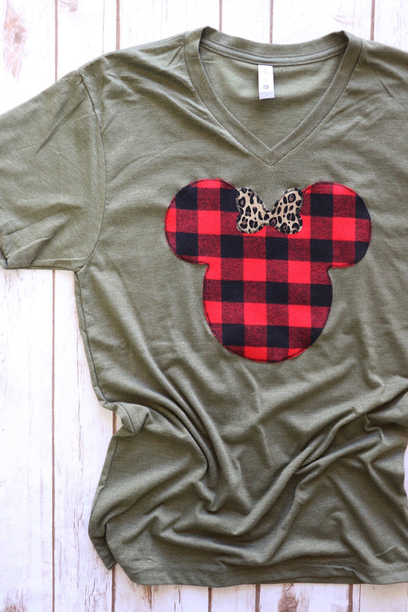 Buffalo Plaid Mouse Olive Tee