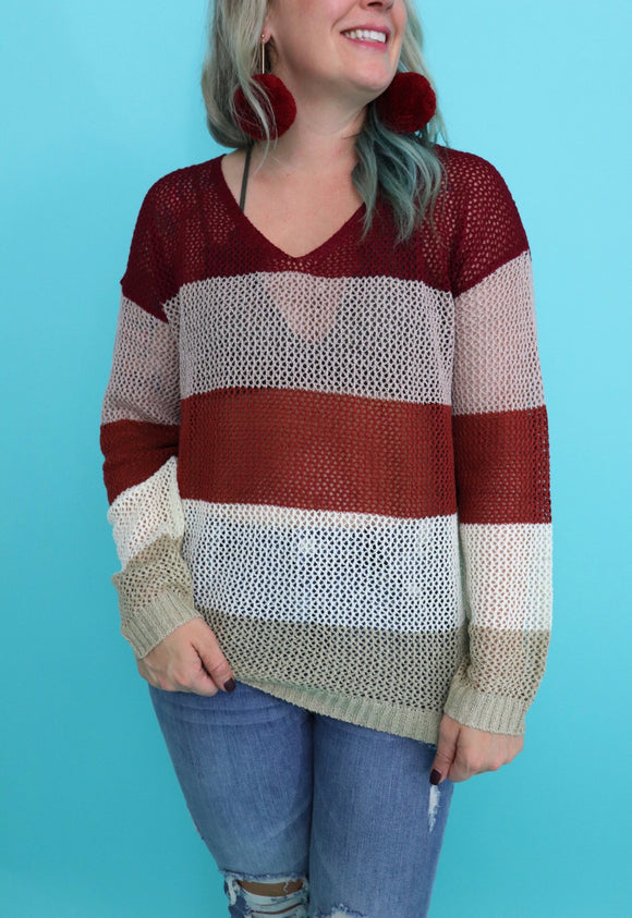 Bombshell Blocked Knit Sweater