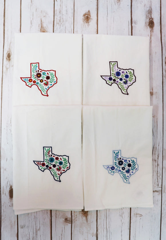 Embroidered Texas Tea Towel