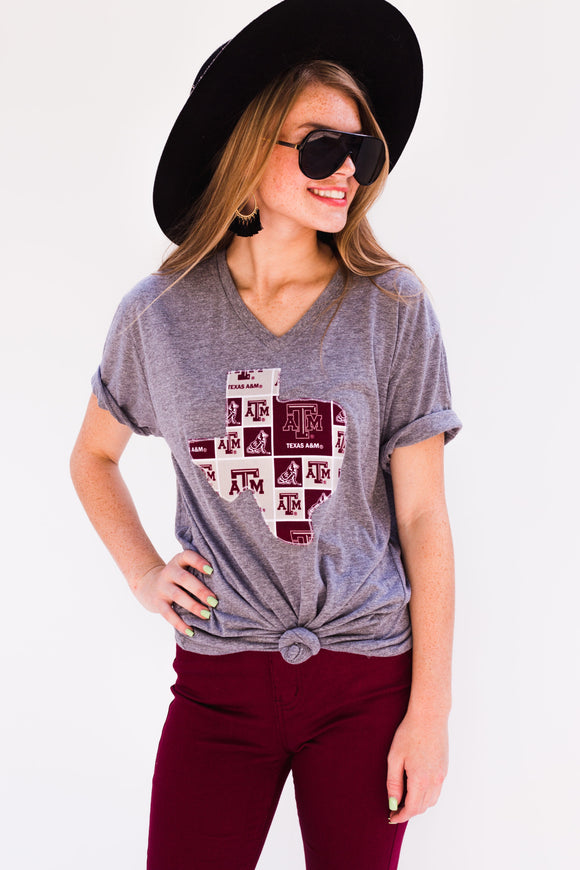 Texas A&M Grey Vneck Tee