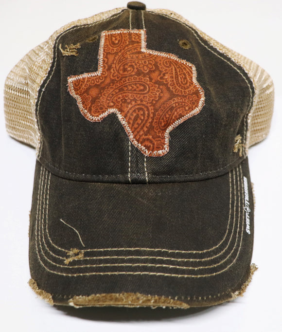 Brown Tooled Leather Dirty Trucker Hat