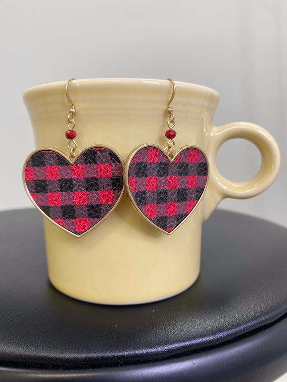 Buffalo Plaid Heart Earrings