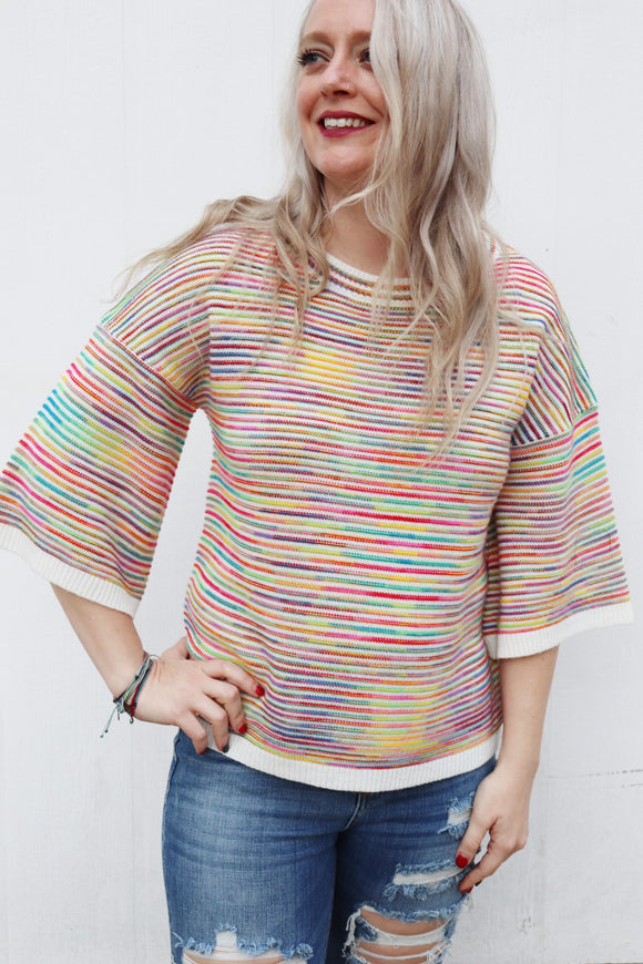 Merry Multi Color Sweater Top
