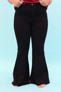 Blossom Bell Bottom Jeans [Black]