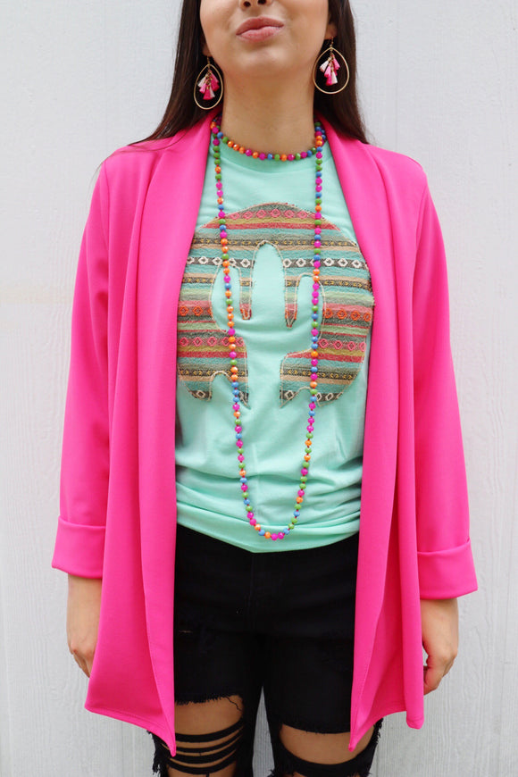 The Sweet Structured Blazer [Hot Pink]
