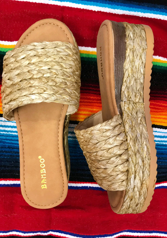 Natural Basket Weave Espadrille Sandals