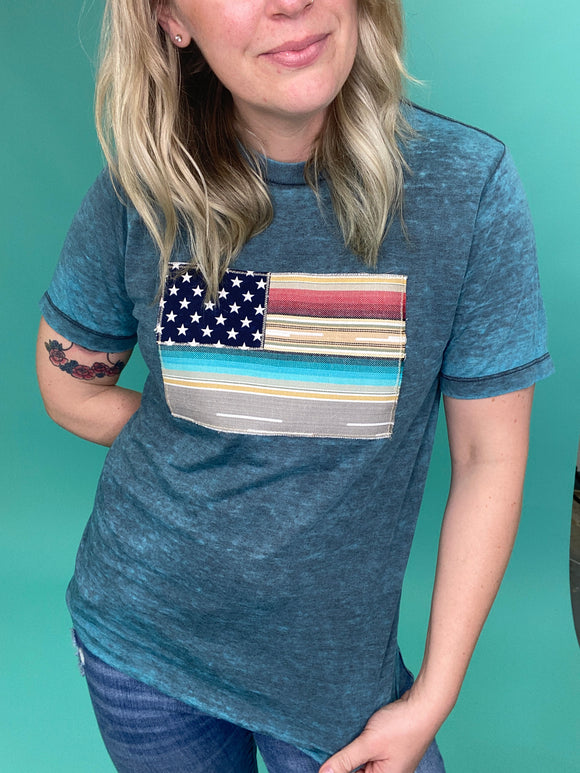 Silverado Serape Flag Tee [Blue Acid Wash]
