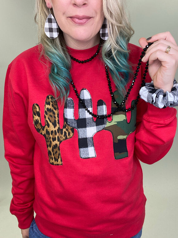 Christmas Cactus Trifecta Red Pullover