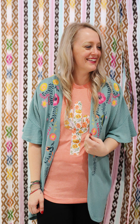 Fields Floral Embroidered Waffle Knit Kimono