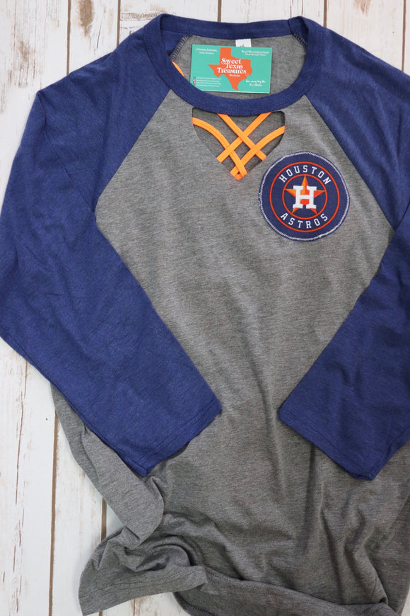 Astros Baseball Key Hole Raglan