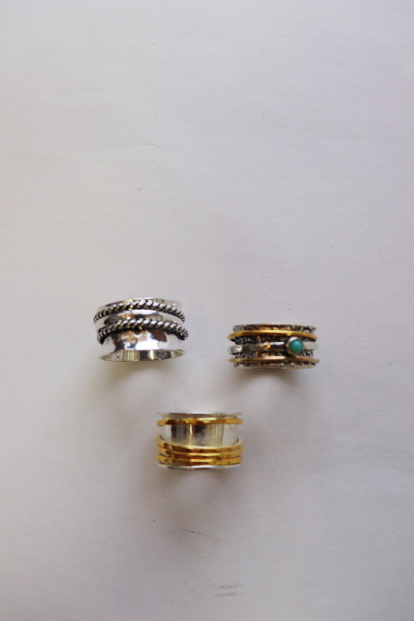 Rotating Wide Metal Ring [3 Styles]