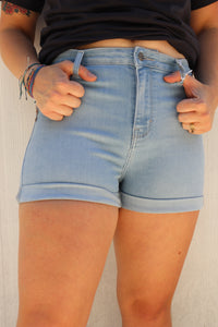Baby Blue High-Rise Denim Shorts