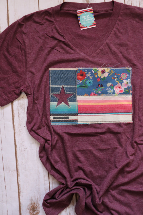 Maverick Fall Floral Dulce Texas Flag Tee