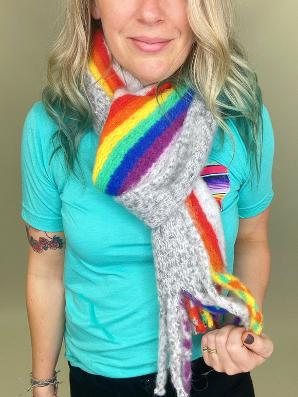 Rainbow Striped Tassel Scarf