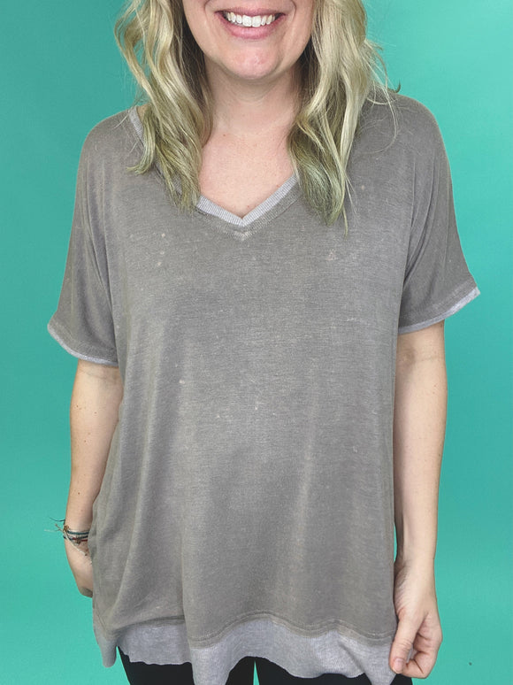 Queen Size Aesthetic Acid Washed Knit Top