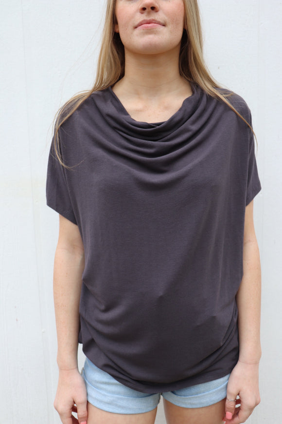 Caldwell Cowl Neck Top [Charcoal]