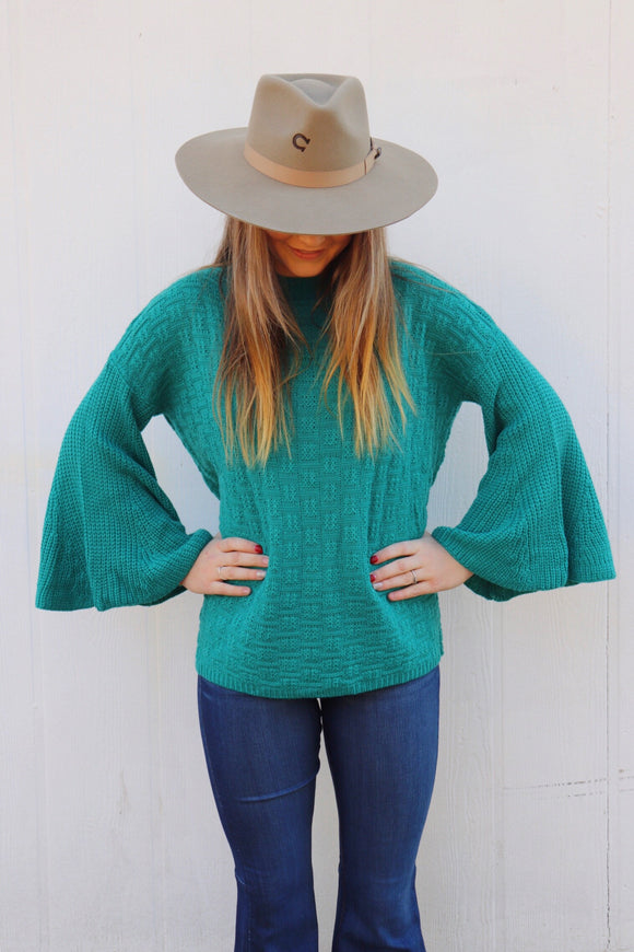 Channing Bell Sleeve Sweater [Teal]