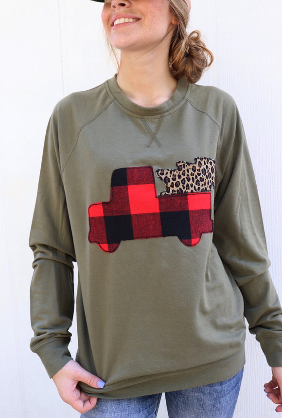 Buffalo Plaid Truck & Tree Olive Pullover