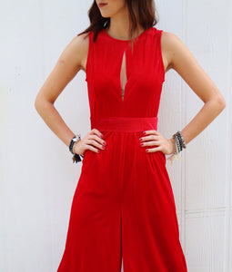 Winters Wide Leg Velvet Romper [Red]