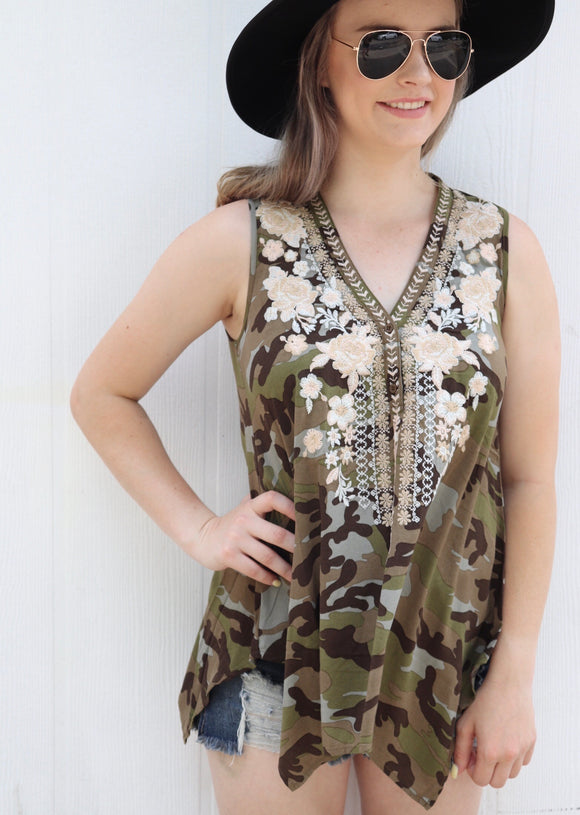 Weslaco Camo Embroidered Tank Top