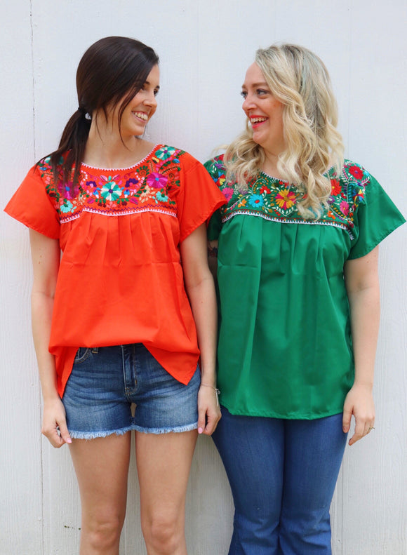 Fiesta Embroidered Peasant Top [All Colors]