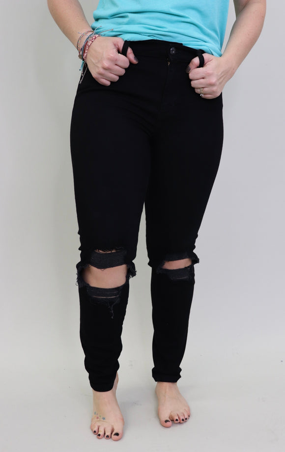 On the Rise Black Distressed Jeans