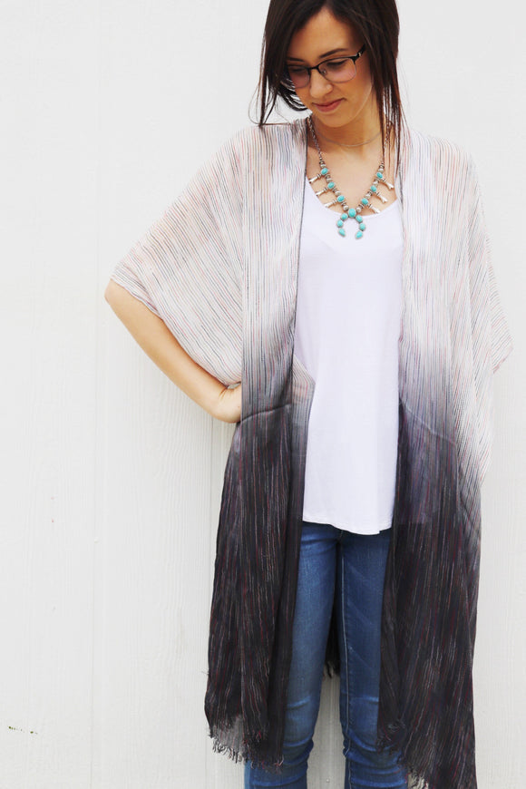 Last Call Midnight Ombre Vertical Stitch Kimono
