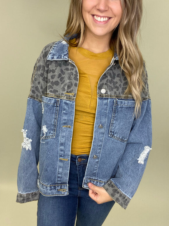 Lucky In Leopard Denim Jacket