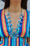 Last Call Opal Squash Blossom Necklace Set [Blue]