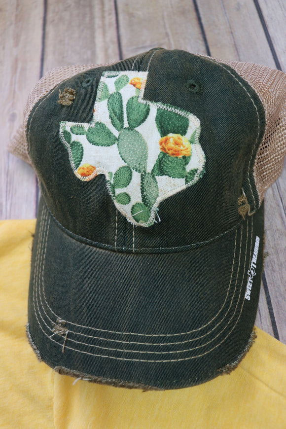 Floral Cactus Dirty Trucker Hat