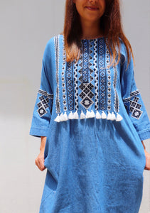 Last Call Roma Denim Embroidered Dress