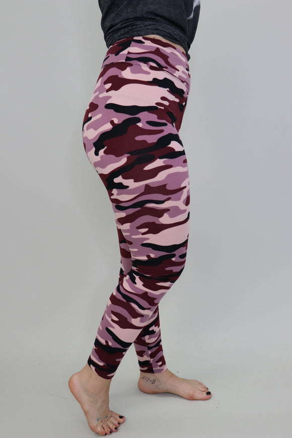 Wild Child Leggings [Mauve Camo]