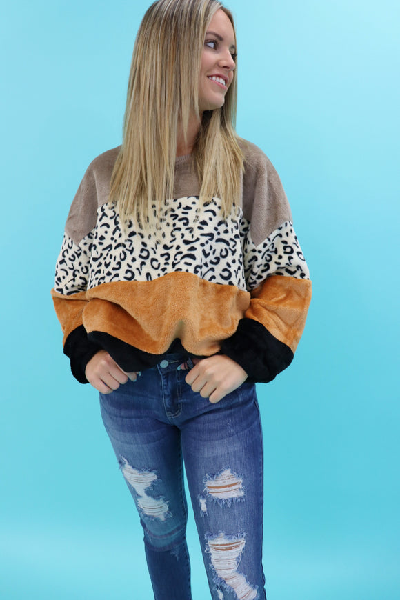 Laredo Leopard Colorblock Sweater